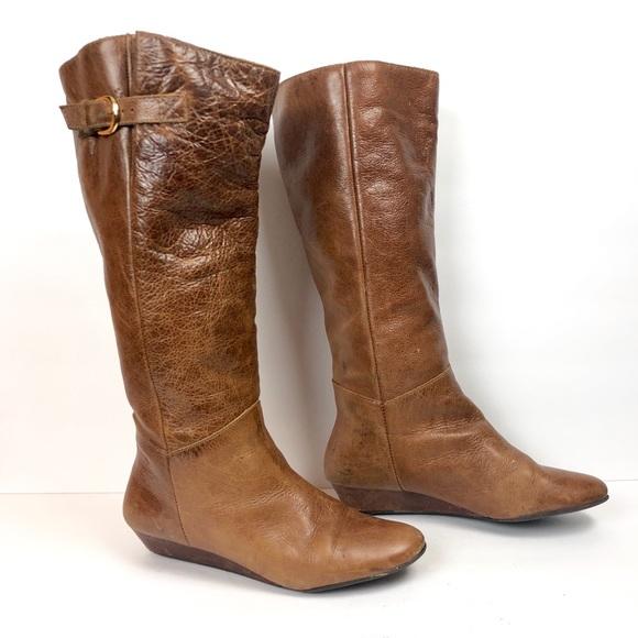 0bc0518fd9f Steve Madden Intyce Cognac Wedge Boots. M 5b6f903f34e48a1fe7bc8ca1